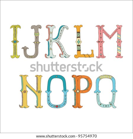 Cute hand drawn font.  Vector letters set I-Q - stock vector