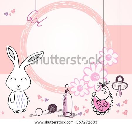 Cute Hand Drawn Frame Cartoon Bunny Stock Photo (Photo, Vector ...