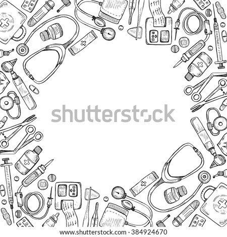 Vector Sketch Back School Background Doodle 스톡 벡터 ...