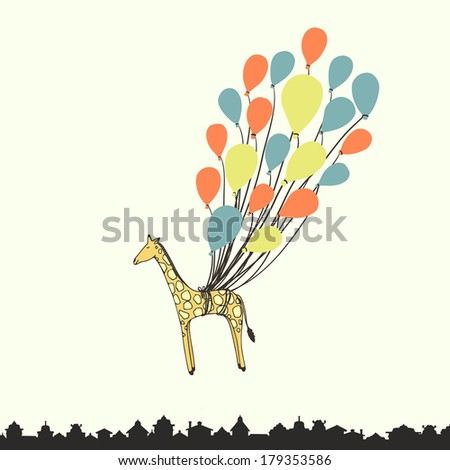 Cute hand drawn giraffe flying on the balloons - perfect newborn announcement card or happy birthday card template made in vector.