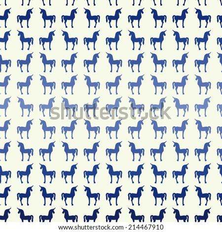 cute hand drawn grade colored unicorn silhouette seamless pattern - stock vector