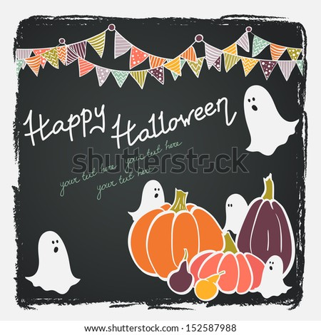 Cute hand drawn halloween invitation or greeting card template with cartoon bunting flags, ghosts and colorful pumpkins on chalkboard background.  - stock vector