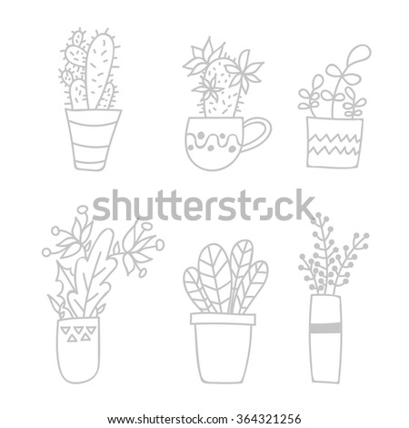 house plants drawing. cute hand drawn houseplants and succulents in potsvector set doodle house plants drawing d