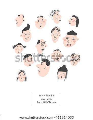 Cute hand drawn illustration of group of men and women. Crowd of funny people. Vector. Isolated