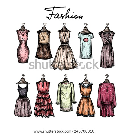 Cute hand drawn illustration with fashionable dresses sketches. Vector background for use in design - stock vector