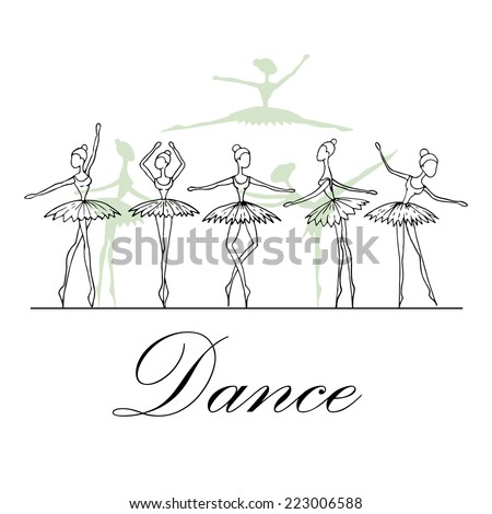 Cute hand drawn illustration with fragile dancers in dance. Vector for use in design - stock vector