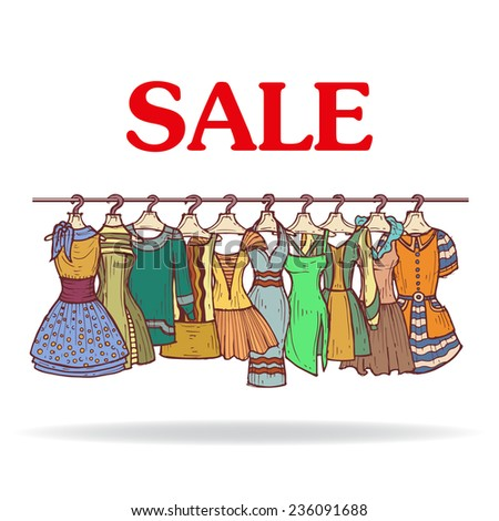 Cute hand drawn illustration with sale of fashionable dresses for women. Vector background for use in design - stock vector