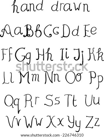 Cute hand drawn light alphabet made in vector. ABC for your design. Easy to use and edit letters.  - stock vector