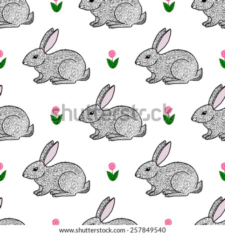 Cute hand drawn little hares and flowers seamless pattern - stock vector