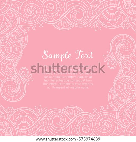 Cute Hand Drawn Mehndi Design Wedding Stock Vector 575974639