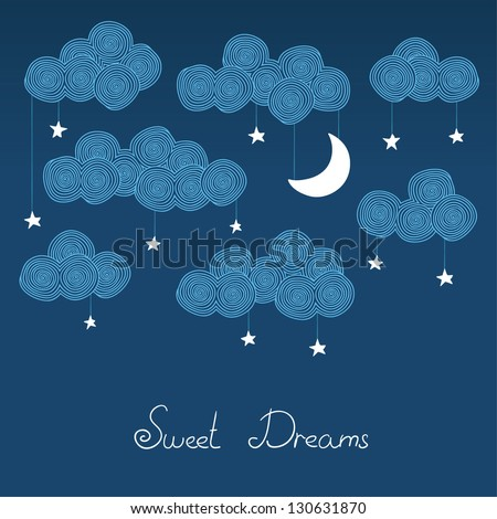 Cute hand drawn night card. Vector illustration - stock vector