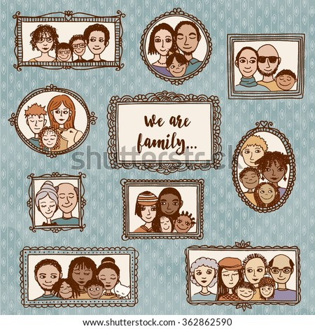 Cute hand drawn picture frames with family portraits - stock vector