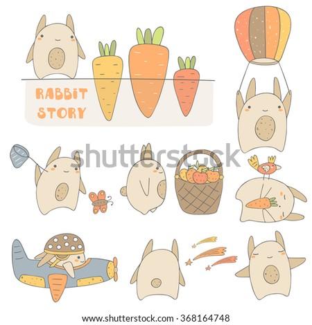 Cute hand drawn rabbits set including rabbit with carrot, rabbit with balloon, rabbit with basket, sleeping rabbit, rabbit in the plane, rabbit watching stars, happy rabbit. Rabbit characters set - stock vector