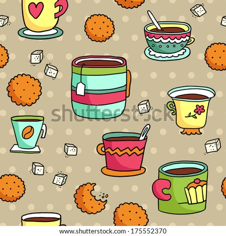 Cute hand-drawn seamless pattern with cups, cookies and sugar - stock vector