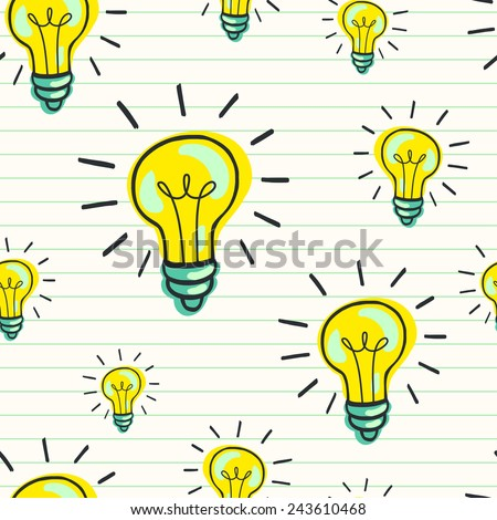 Cute hand drawn seamless pattern with doodle light bulbs on lined notepaper background. Cartoon tiling background. - stock vector
