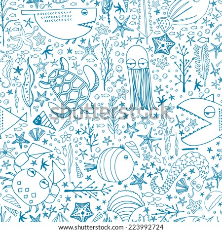 Cute hand drawn seamless pattern with water creatures made in vector. Underwater life texture. Fish, turtle, starfish, crab, shark, octopus. - stock vector