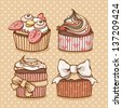 Cute hand drawn set of four cupcakes in retro colors. - stock vector