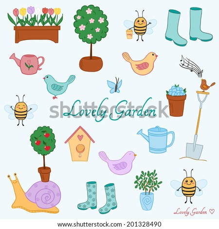 Cute hand-drawn set of gardening tools and lovely creatures. Vector eps10. - stock vector