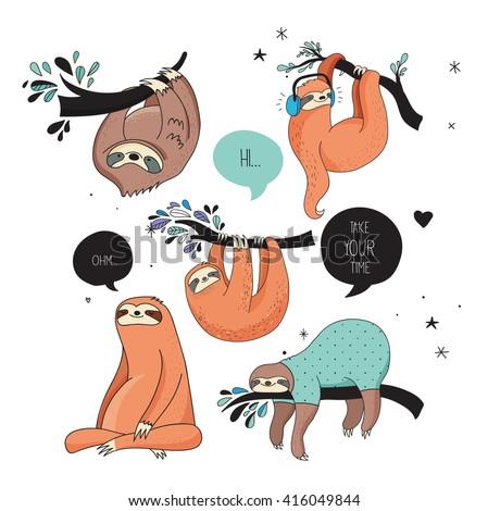 Cute hand drawn sloths, funny vector illustrations - stock vector