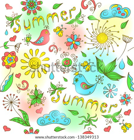 Cute hand drawn summer seamless pattern. Vector illustration.