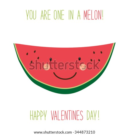 Cute hand drawn unusual Valentines day card with funny cartoon character of melon and hand written text - stock vector