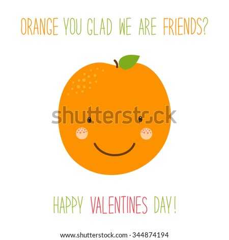 Cute hand drawn unusual Valentines day card with funny cartoon character of orange and hand written text - stock vector