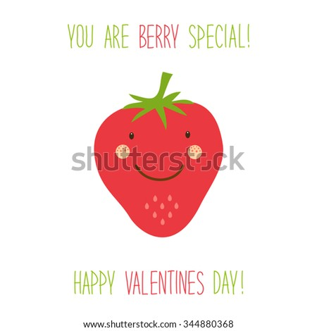Cute hand drawn unusual Valentines day card with funny cartoon character of strawberry and hand written text - stock vector