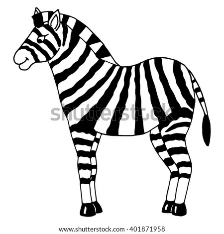 cute hand drawn vector illustration of zebra on isolated background