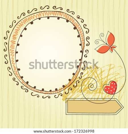 Cute handdrawn frame card with butterfly and heart. Seamless background. Vector illustration.
