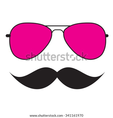 Cute Handdrawn Glasses and a Mustache Vector Illustration EPS10