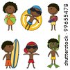 Cute happy African-American boys on the beach isolated on white background - stock photo