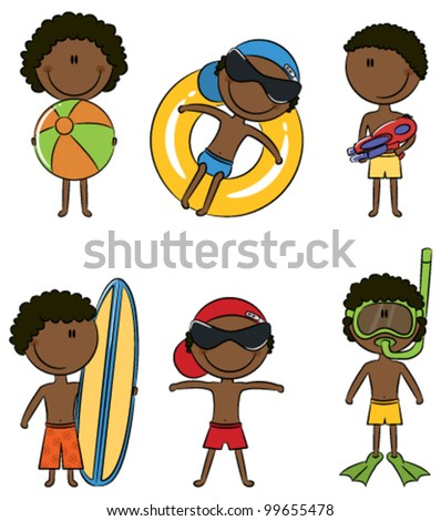 Cute happy African-American boys on the beach isolated on white background