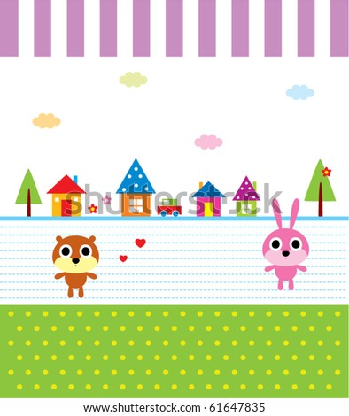 cute happy animal garden - stock vector