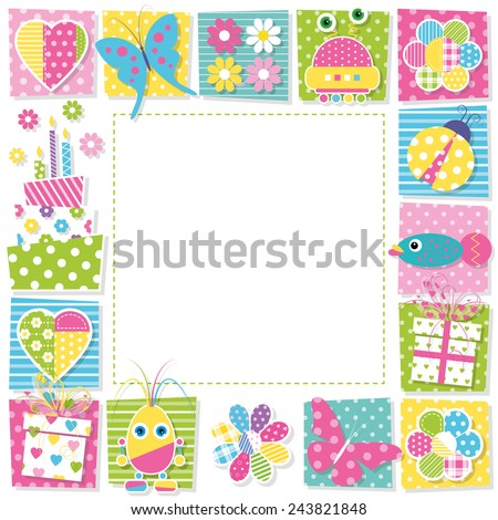cute happy birthday border - stock vector