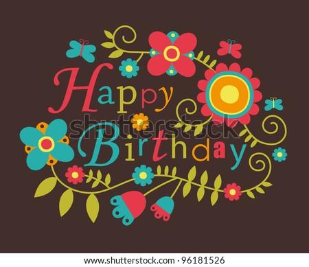 Cute Happy Birthday Card Vector Illustration Vector 96181526 – Cute Happy Birthday Cards