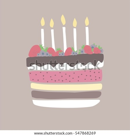 Cute Happy Birthday Card Cake Candles Stock Vector 547868269