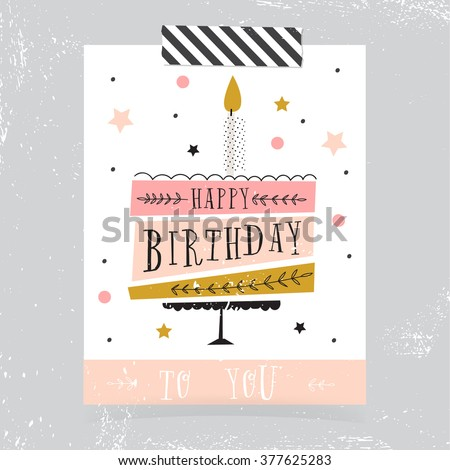 Cute Happy Birthday Card Cake Candles Vector 377625283 – Cool Happy Birthday Card