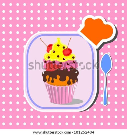cute happy birthday card with cupcake. Vector illustration. (EPS 10) - stock vector
