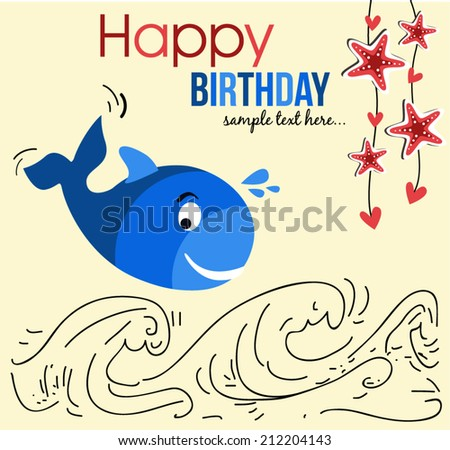 cute happy birthday card with cute whale
