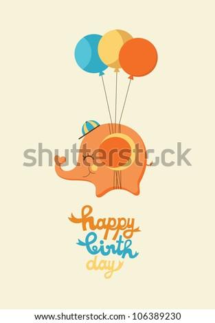 cute happy birthday card with elephant. vector illustration - stock vector