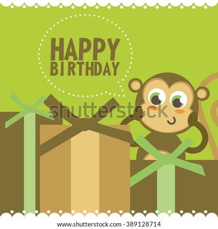 cute happy birthday card with fun monkey. vector illustration - stock vector