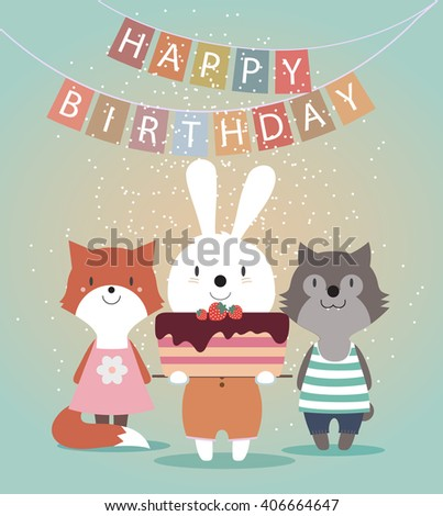 Cute Happy Birthday card with funny animals. Hare, wolf, fox and cake. Vector illustration eps10.