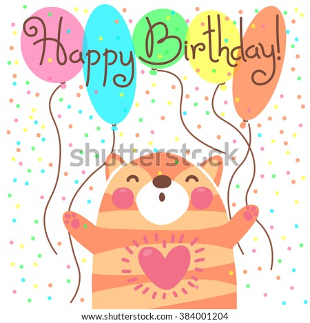 Cute happy birthday card with funny kitten. Vector illustration - stock vector