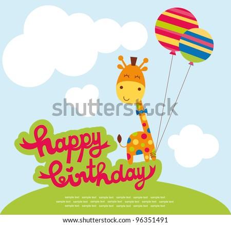 cute happy birthday card with nice giraffe. vector illustration - stock vector