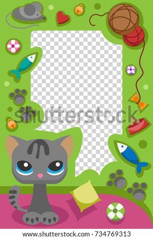 Cute Happy Birthday Cat Photo Frame Stock Vector 734769313 ...
