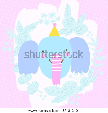 Cute Happy Birthday Elephant in funny hat. Celebration background in cartoon style.  - stock vector