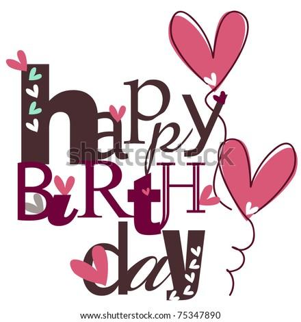 Cute Happy Birthday EPS 10 - stock vector