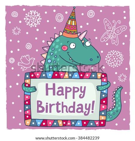 Cute Happy Birthday Greeting Card Template Vector 384482239 – Happy Birthday Word Template