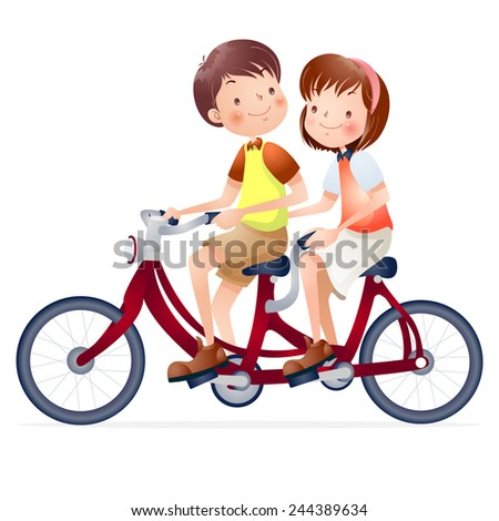 Cute happy boy and girl riding a bike  - stock vector