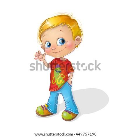 Cute happy cartoon boy character vector illustration. Cheerful smiling schoolboy (preschooler) casual lifestyle. Friendly little boy waving hand. - stock vector